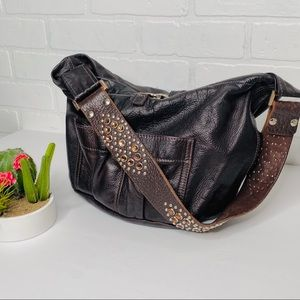 Tylie Malibu Brown Leather Utility Bag Studded